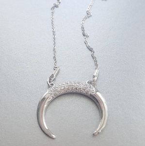 Dainty Silver double horn with cz necklace!!!